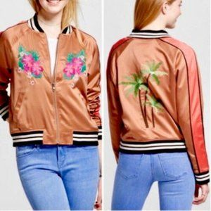 Mossimo Satin Floral Embroidered Bomber Jacket